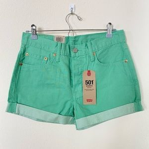 Levi's 501 Mid-Rise Mint Green Denim Shorts/28